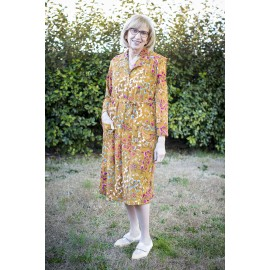 ROSE ROBE 1/2 BOUTONNEE CHAUDE MOUTARDE