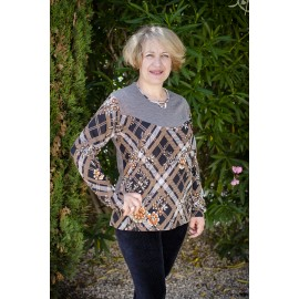 PULL IMPRIME CARREAUX MARRON