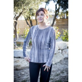 TEE SHIRT PLISSE COL ROND MANCHES LONGUES