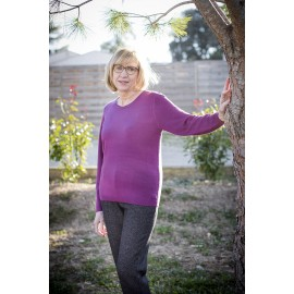 PULL COL ROND EFFET CACHEMIRE VIOLET