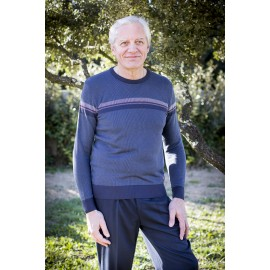 PULL COL ROND MARINE RAYURE BORDEAUX