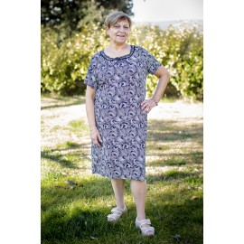 ROBE COL ROND MANCHES COURTES